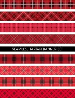 Seamless tartan plaid banner set horizontally and vertically repeatable.