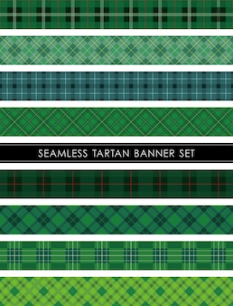 Seamless tartan plaid banner set horizontally and vertically repeatable.
