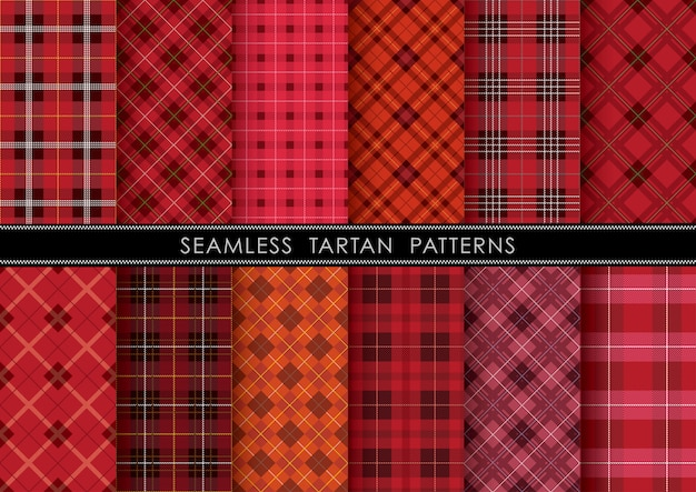 Seamless tartan plaid set, horizontally and vertically repeatable.