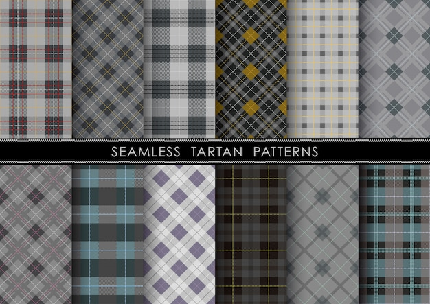 Seamless tartan plaid set. horizontally and vertically repeatable.