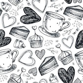 シームレスなティーパーティー、コーヒー、カップケーキ、お菓子、ハートの手描きパターン。黒と白のヴィンテージ手描き背景