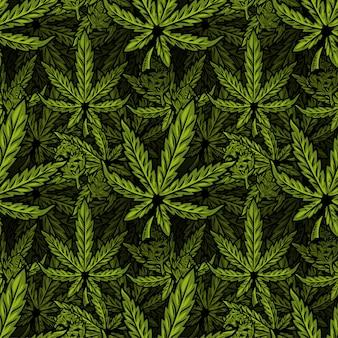 マリファナ、大麻、雑草、麻cbdオイル、芽医療大麻thcの自然のバイオエコ植物の葉とのシームレスなテキスタイルパターン。ポスター、ステッカー、バナー、服のモダンなプリントデザインイラスト。
