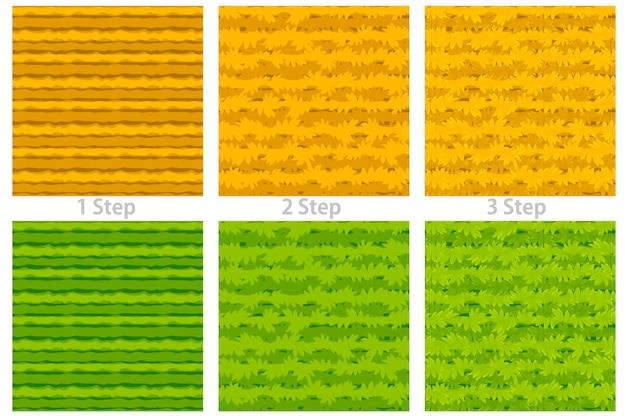 Бесшовные текстуры мультяшной травы, 3 шага рисования сухой и зеленой травы для обоев. Premium векторы