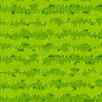 Бесшовные текстуры мультфильм трава, зеленые растения узор для обоев. иллюстрация фон органический фон для графического интерфейса игры.