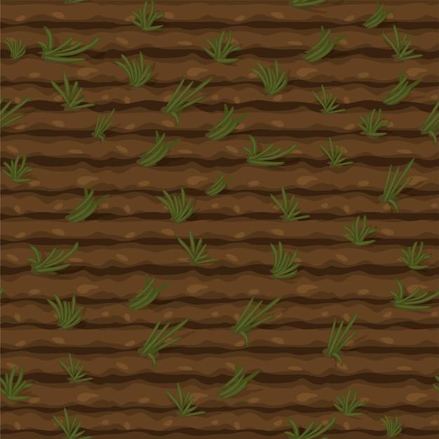 Безшовное поле текстуры с зеленой травой, землей текстуры для обоев.