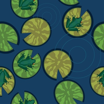 Seamless texture of frogs on lily pads on a pond.