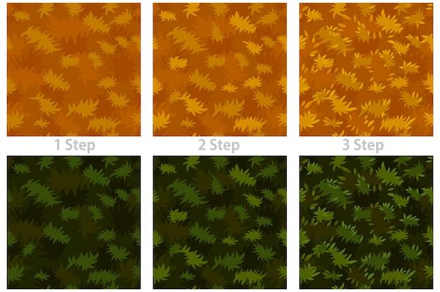 Бесшовные текстуры травы, шаг за шагом рисования сухой и зеленой травы.