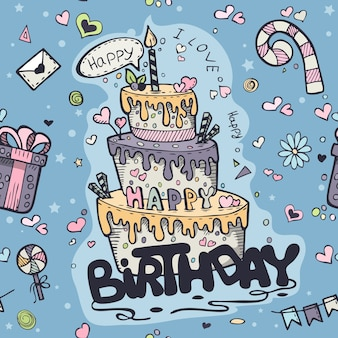 Бесшовные текстуры синих каракулей на день рождения