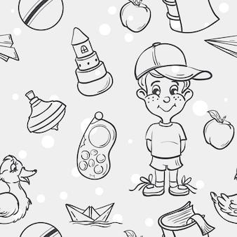 黒い輪郭の男の子のための子供のおもちゃのシームレスなテクスチャ