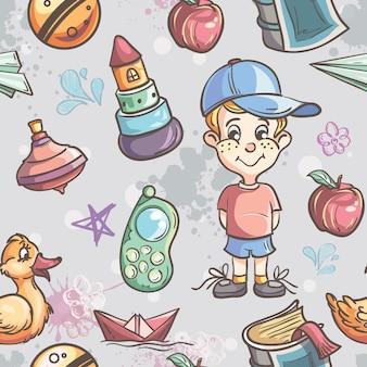 Бесшовные текстуры детских игрушек для мальчика