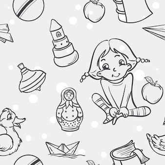 Бесшовные текстуры детских игрушек для девочек в черном контуре