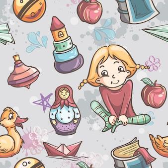 Бесшовные текстуры детских игрушек для девочек