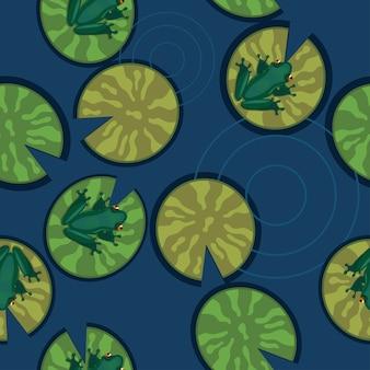 Безшовная текстура лягушек на лилиях на пруду.
