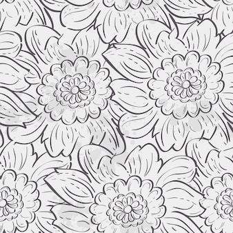 アジサイの花のシームレスなテクスチャです。黒い輪郭