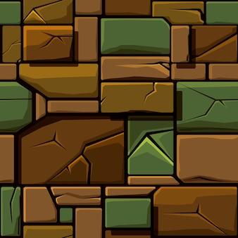 오래 된 기하학적 돌, 배경 돌 벽 타일의 매끄러운 질감. 게임 요소의 사용자 인터페이스에 대한 벡터 일러스트 레이 션
