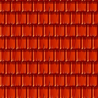 Seamless texture of red wooden roof in a row. pattern of a broken roof.