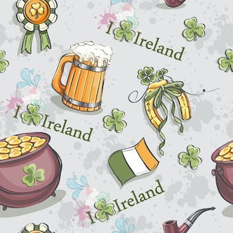 Seamless texture for st. patrickus day with a pot of gold and a wooden beer