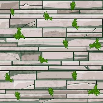 Seamless texture stone brick wall, gray pattern with grass for design.