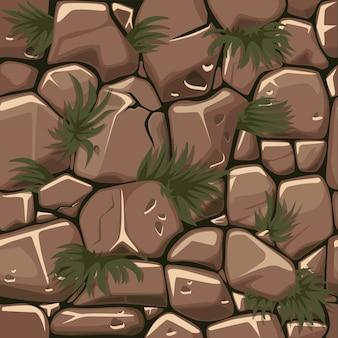 Бесшовные текстуры камней с травой, узор из булыжника с растениями для пользовательского интерфейса игры.