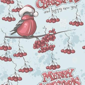 Бесшовные текстуры к рождеству и новому году со снегирями