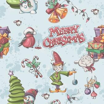 Бесшовные текстуры на рождество и новый год со снеговиком