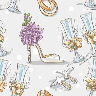 Бесшовные текстуры свадьбы с обручальными кольцами, очками и туфлями невесты