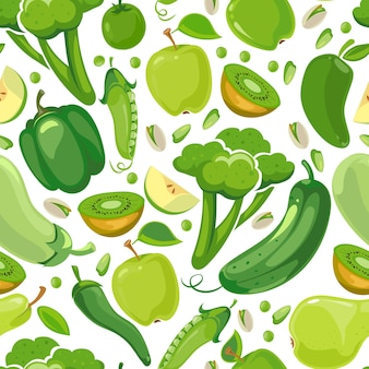 Бесшовная текстура с зелеными овощами и фруктами