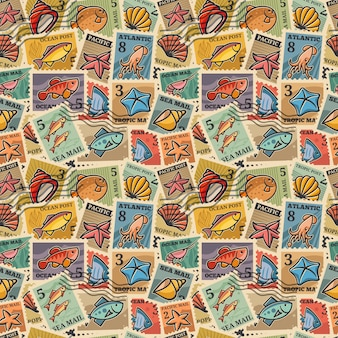 Seamless texture with the image of postage stamps with marine inhabitants. raft paper, packaging, wallpaper, manufacturing exclusive designer fabrics