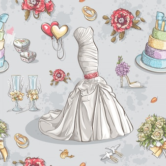 Seamless texture with the image of wedding dresses, glasses, rings, cake and other items.
