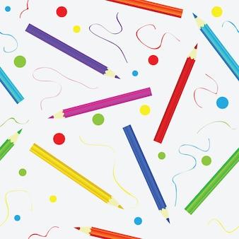 Бесшовный фон с карандашами. красочный бесконечный узор. шаблон для дизайна фонов, текстиля, оберточной бумаги, упаковки
