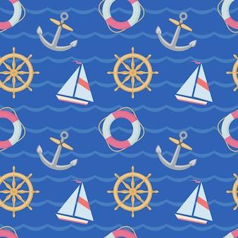 Безшовная текстура с кораблями, якорями и спасательными кругами на голубом backgrownd. текстуру можно использовать при оформлении детской комнаты, тематических вечеринок, при изготовлении оберточной бумаги.