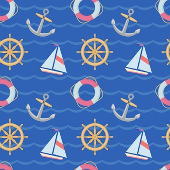 Seamless texture with ships, anchors and lifebuoys on blue backgrownd. the texture can be used in the design of a children's room, theme parties, in the manufacture of wrapping paper.