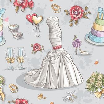 Бесшовный фон с изображением свадебного платья, бокалов, колец, торта и других предметов.