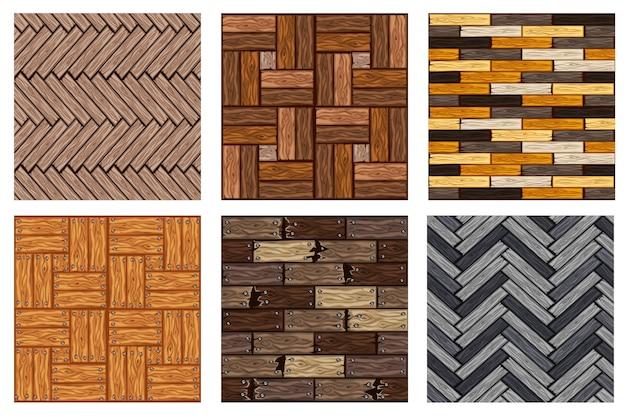 Набор бесшовных текстур деревянный паркет
