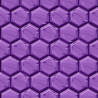 Seamless textured of bright purple hexagonal stone tiles. background vintage paving geometric tiles.