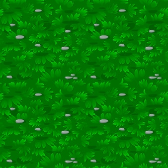 Seamless textured green grass pattern with stones. repeating lawn or meadow background.