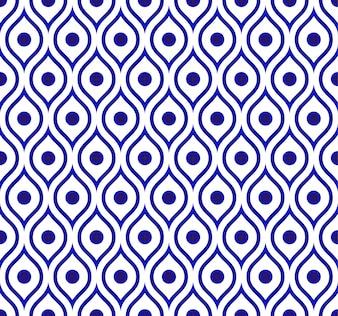 Seamless Thai pattern, ceramic blue and white modern shape background
