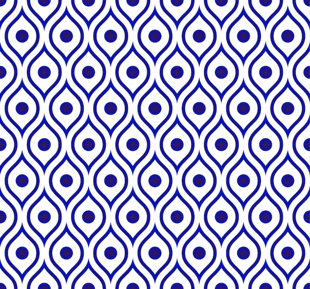 Seamless thai pattern, ceramic blue and white modern shape background