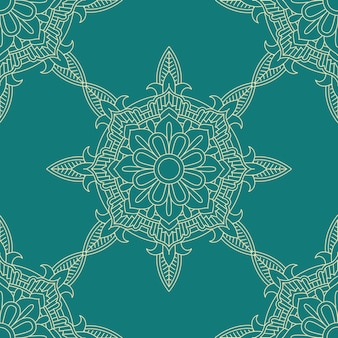Seamless tile decorative pattern background in teal and cream colours