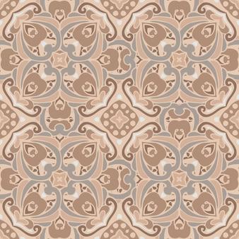 シームレスなタイルパターンベクトルビクトリア朝の豪華なダマスク織のデザイン