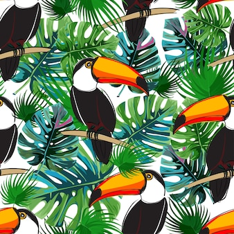 Seamless toucan and tropical leaves pattern.