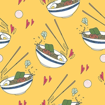 Seamless traditional japanese food pattern