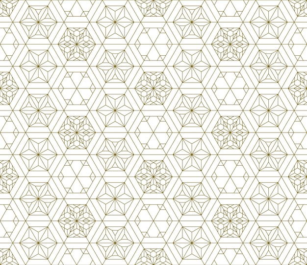 Seamless traditional japanese ornament kumiko pattern.golden color lines.