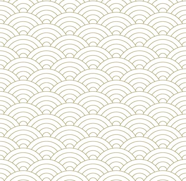 幾何学的な波とシームレスな伝統的な日本の装飾。茶色の色の線。