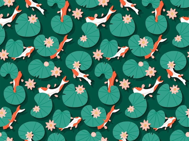 Seamless traditional with pattern koi carp fishes swim in emerald water with pink lotus lily flowers hand drawn