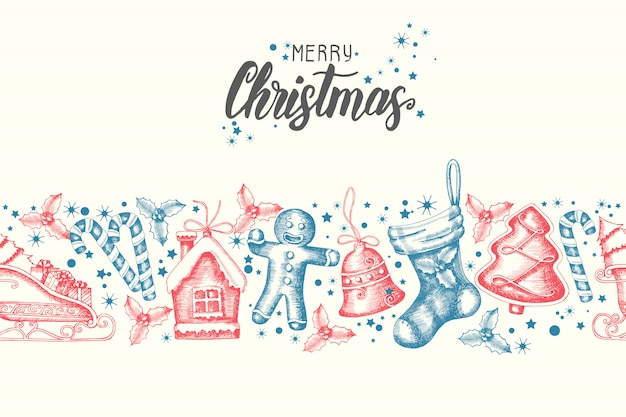 Seamless trendy pattern with hand drawn  christmas objects.