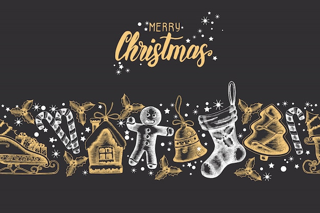 Seamless trendy pattern with hand drawn golden-black christmas objects