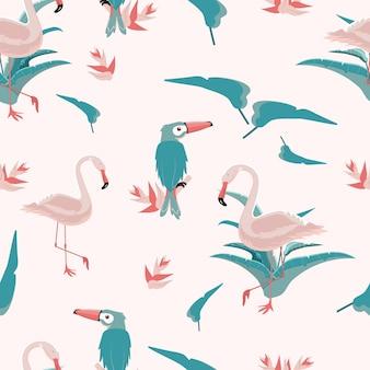 분홍색 플라밍고와 큰부리새 새, 분홍색 배경에 열대 잎이 있는 매끄러운 트렌디한 열대 패턴입니다. 벡터 일러스트 레이 션.