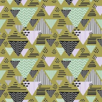 패션과 포장에 대한 원활한 삼각형 추상 드로잉