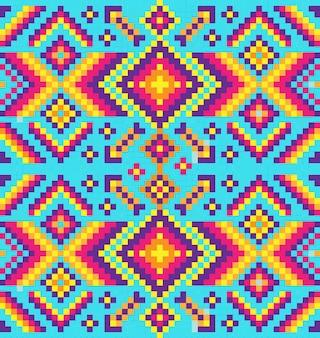シームレスな部族のナバホレンガパターンのインド風